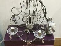 NEW next chandelier pewter metal finish glass scones cost £100 collection S267XL
