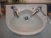 Small wash hand basin for cloakroom or utility room - lever taps