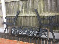 Lovely Old Rose & Vine Design Cast Iron Garden Bench