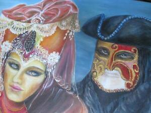 """Original oil painting """"Venetian Carnival"""" . London Ontario image 2"""