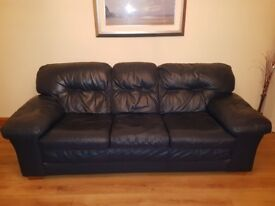 Sofa leather 3 & 2 with pouffe. Excellent condition..from smoke and pet free home.