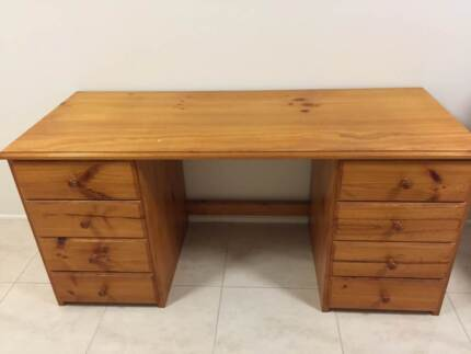timber office desk. pine timber office desk 8 drawers u0026 bookcase good condition