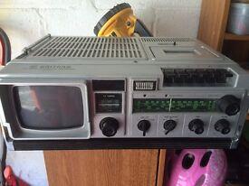 Waltham TV Radio Cassette Recorder, W198, retro, camping, caravaning £10