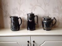 3 Old Jugs with Pewter Lids