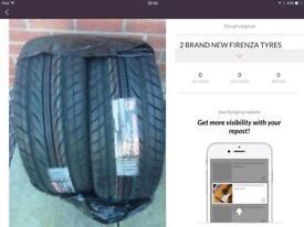 2 brand new Firenze tyres 225/55/R17