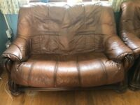 Brown leather 3 piece sofa's, 2 seater and 2 one seaters. Well worn, plenty of life left in them.