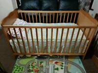 Cot Bed with Mattress and Ikea bedsheet