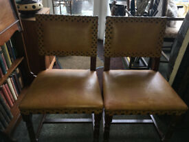 Fine Pair of Vintage Solid Oak and Rexene Dining/Occasional Chairs