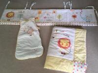 Baby cot bedding set and grobag