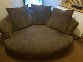 Large brown cuddle couch dfs