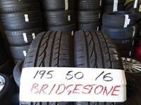 matching pair of 195 50 16 bridgestones 7mm tread £50 pair sup & fittd(LOADS MORE AV 7-DAYS)
