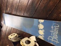 Used Burton snowboard, newly hand-waxed + bindings and attachments but discs missing