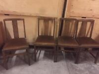 Set Of 4 Vintage Oak Ercol Gold Label Dinning Chairs