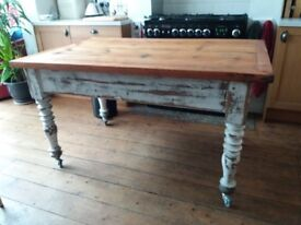 Solid pine, rustic, vintage wooden kitchen table