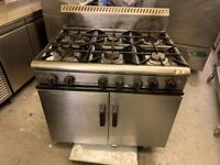 6 BURNER GAS COOKER OVEN CATERING COMMERCIAL KITCHEN FAST FOOD