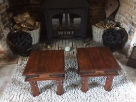 Pair side tables solid wood