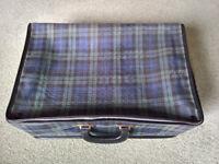 Vintage tartan foldaway suitcase