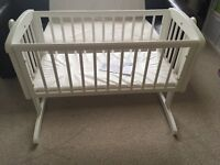 Mothecare swinging crib - white
