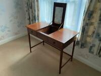 Dressing table with fold up mirror and 2 drawers