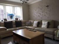 Cream leather dfs corner sofa