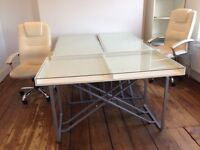 6 office desks. Free to collect asap. 1400x700 mm IKEA glass top desks with silver metal frames.