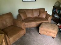 100% Antique Leather Sofa, Arm Chair & Footstool almost new - retails at £3300