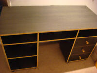 Desk with drawers and shelves amd matching bedside table