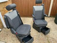 VW T5 T5.1 T6 Transporter Caravelle Swivel Seat Captain Seats X2 including runners