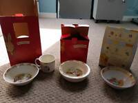 Royal Doulton Bunnykins infant set, bowl and Winnie the Pooh bowl. NEW IN BOX