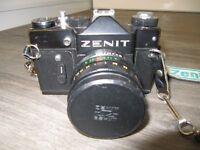 Zenit TTL 35mm Reflex camera, accessories + 135mm & 200mm Lenses.