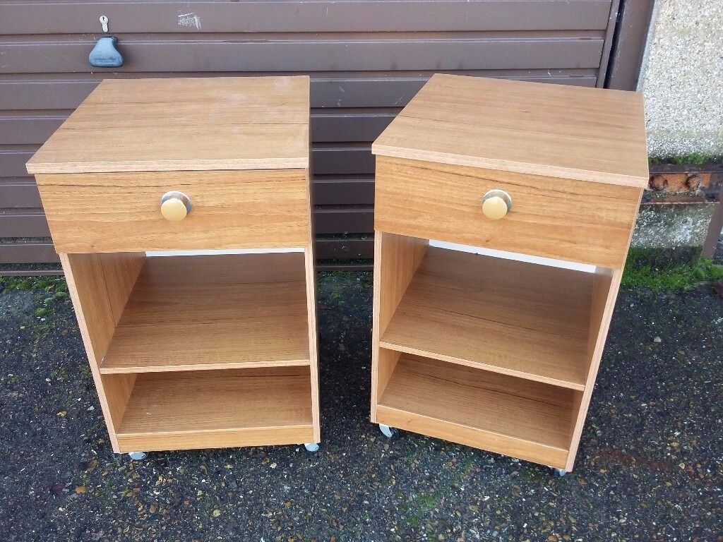 Schreiber Bedroom Furniture Pair Of Vintage Schreiber Bedside Tables With One Draw And Shelves