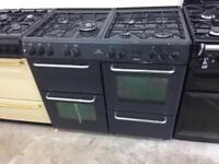 Black new world 100cm dull full cooker grill & double fan assisted ovens with guarantee