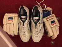Cricket boots and gloves
