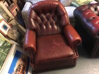 OX BLOOD RED CHESTERFIELD STYLE CHAIR