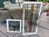 """Vintage Reclaimed Leaded Stained Glass Window Matching Pair - 36x16"""" + 16""""x 16"""""""
