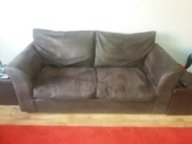 Brown faux leather 3 piece suite sofa and 2 armchairs