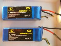 2 packs 22.2v 5000mah 6s lipo 30C NEW Never used RC plane Helicopter