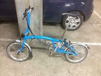Sky blue Brompton S6L good allrounder hills and speed