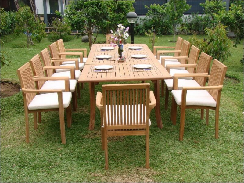 "13-piece Outdoor Teak Dining Set: 117"" Rectangle Table, 12 Stacking Chairs Lua"
