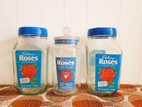 3 x Cadbury Roses Glass Jars