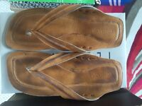 mens / boys brown leather sandals