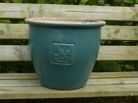 Large Green Ceramic Garden Planter with Symbol Decoration 30cm Tall