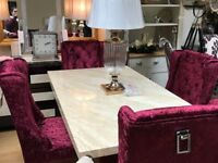 Crema Dining table plus 4 crushed velvet wine chairs