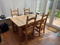 Wooden Dining Set - Table & 4 Chairs
