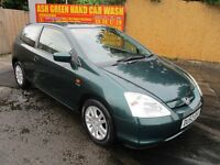 2002 52 HONDA CIVIC 1.6 VTEC SPORT SE 3 DOOR HATCHBACK FULL MOT LEATHER LOVELY DRIVE PX SWAPS