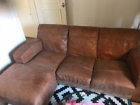 Lovely corner leather sofa and armchair