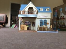 Sylvanian Families Courtyard Restaurant with goods and figures