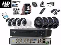8 Full HD CCTV Cameras Package Clear Image Night Vision +2TB HDD