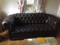 Chesterfield Couch and two chairs