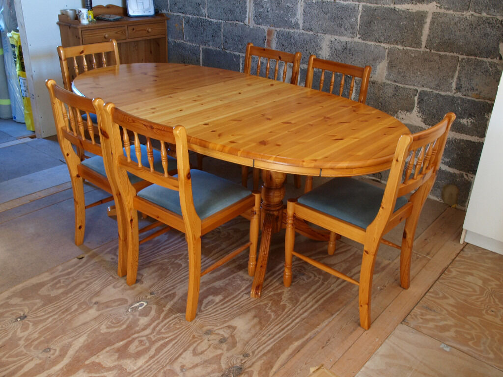 Pine Kitchen Table And Chairs Ducal Oval Pine Extending Dining Table And 6 Chairs In Nailsea